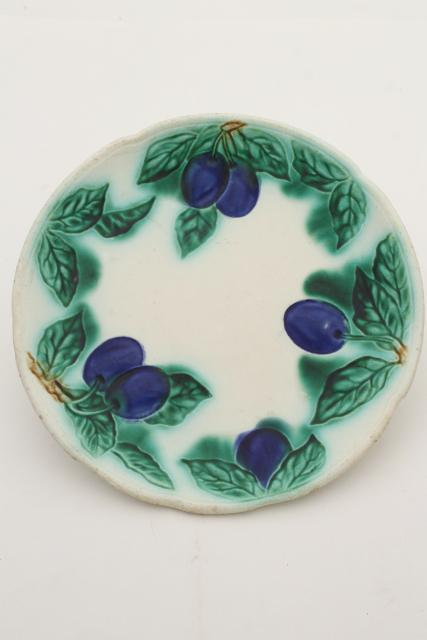 antique majolica pottery plate w/ blue plums turn of the century vintage Germany mark & antique majolica pottery plate w/ blue plums turn of the century ...
