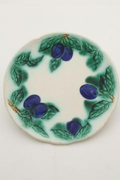 antique majolica pottery plate w/ blue plums, turn of the century vintage Germany mark