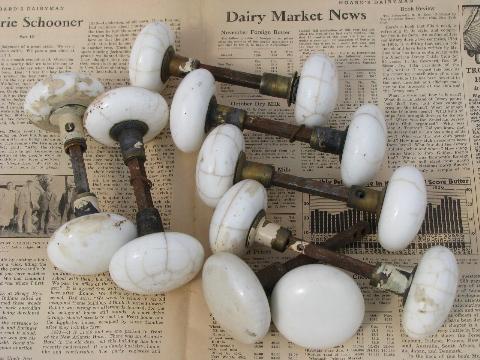 Antique Porcelain Door Knobs antique marbled crackle white porcelain door knobs, vintage hardware