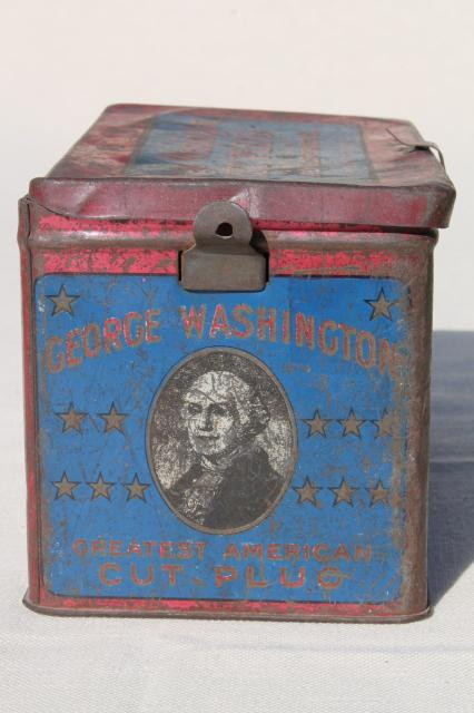 antique metal box tobacco tin, George Washington cut plug w/ old blue & red paint