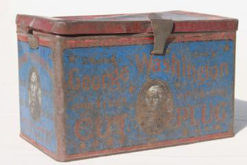 antique metal box tobacco tin, george washington cut plug w/ old blue & red