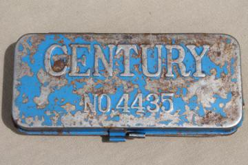 antique metal tool box, Century tin w/ worn & distressed vintage blue paint