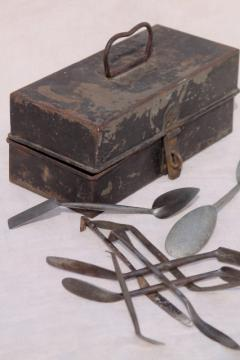 antique metal toolbox w/ early industrial vintage tools, palette knives & spatulas