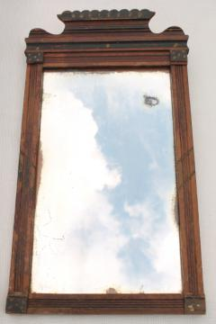 antique mid 1800s mirror w/ original old glass, primitive wood frame w/ plank back