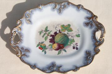 antique mid 1800s vintage flow blue polychrome transferware fruit dish, large old china bowl