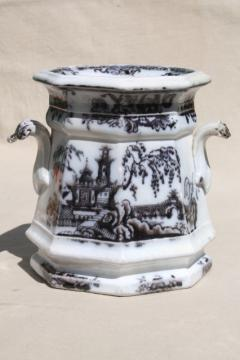 antique mid-1800s English transferware flow mulberry black china jar, Pelew Chinese scene chinioserie