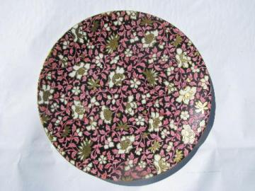 antique mid-1800s vintage English chintz china plate, black / pink / gold