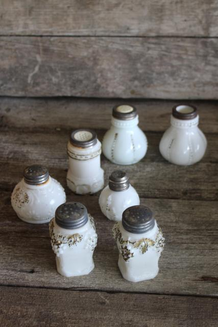 antique milk glass shakers, turn of the century vintage pressed pattern glass