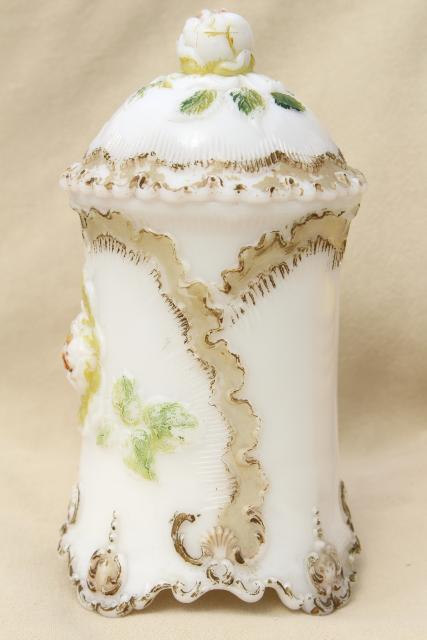 antique milk glass vanity apothecary jar w/ roses for rose petals or potpourri