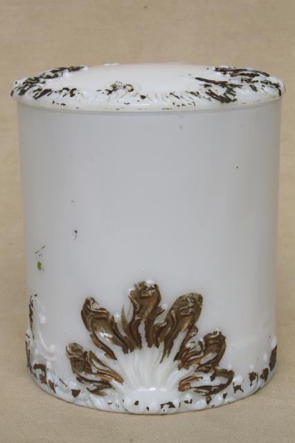 antique milk glass vanity table dresser band box, unusual tall powder jar w/ ornate gold