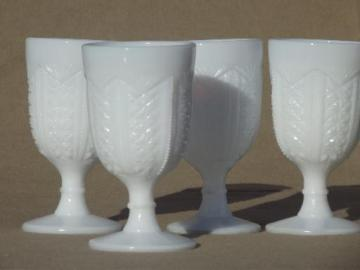 antique milk glass wine glasses, diamond & zipper pressed glass goblets