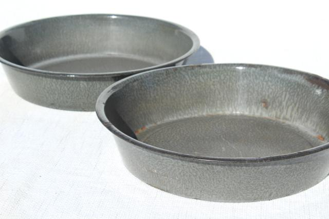 antique milk pans, old grey graniteware enamel, vintage L&G agate ware