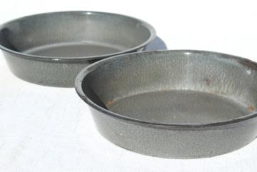 antique milk pans, old grey graniteware enamel, vintage L&G agate ware