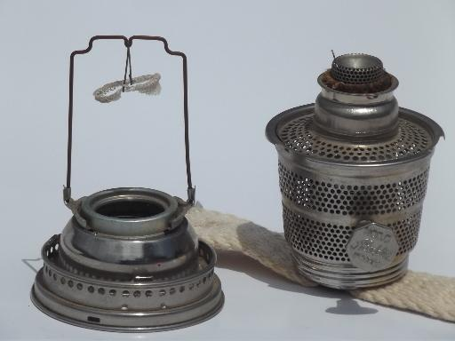 antique model C Aladdin lamp burner,  nickel silver oil lamp burner without mantle