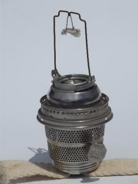 antique model C Aladdin lamp burner,  nickel silver oil lamp burner without mantle