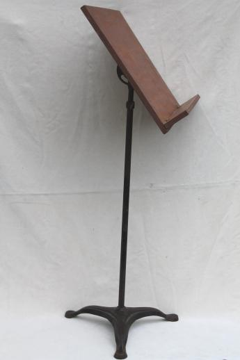 antique music stand with telescoping iron base & wood easel, early