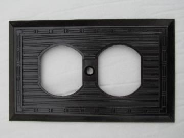 antique new-old-stock Harvey Hubbell bakelite electrical receptacle cover plate, vintage architectural
