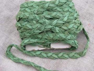 antique nile green sewing braid, heavy rayon or silk, vintage 1910-20