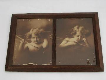 antique oak Arts & Crafts vintage double picture frame, cupid photo prints