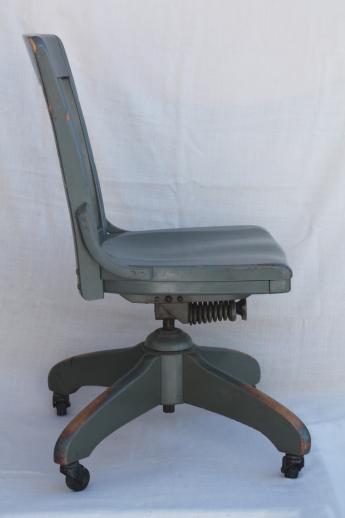 Antique Oak Office Chair Early 1900s Vintage Desk Chair W