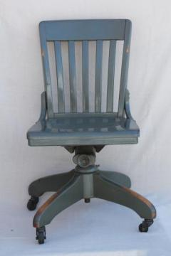 antique oak office chair, early 1900s vintage desk chair w/ old industrial grey paint