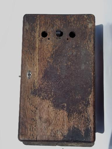 antique oak wall telephone ringer box for restoration 1913 patent date