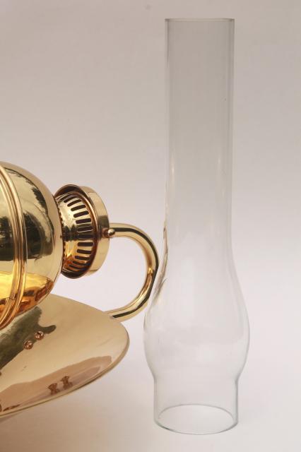 Antique Oil Lamp Sconce Huge Polished Brass Reflector