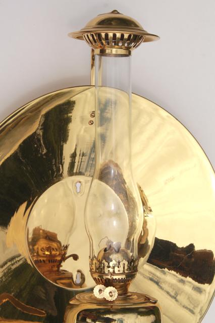 Antique Oil Lamp Sconce Huge Polished Brass Reflector