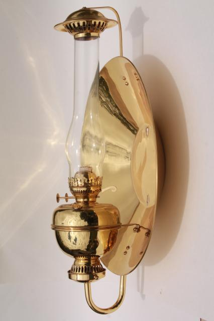 oil lamp sconce huge polished brass reflector Sherwood industrial ...