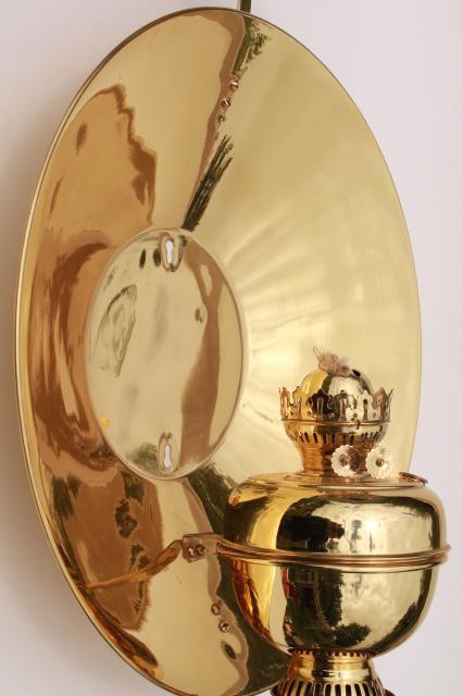 antique oil lamp sconce huge polished brass reflector Sherwood industrial light England