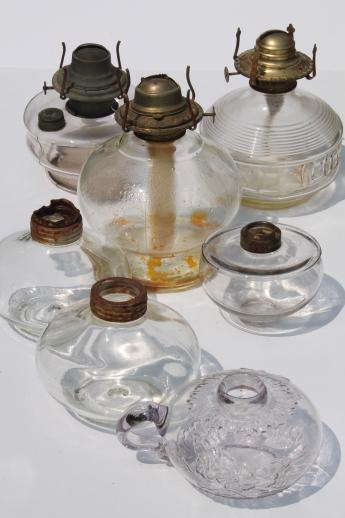 antique oil lamps lot, collection of old glass lamp bases for kerosene lamps