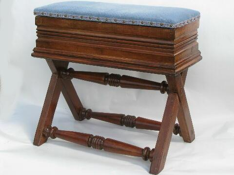 antique organ bench piano stool, Victorian vintage music storage seat