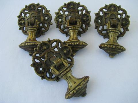 antique ornate teardrop tassel drawer pulls, early 1900s vintage hardware  lot - Antique Ornate Teardrop Tassel Drawer Pulls, Early 1900s Vintage