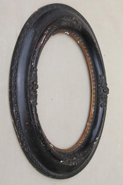 antique oval wood picture frames, portrait frame pair w/ 1860s ...