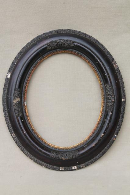 Antique Oval Wood Picture Frames Portrait Frame Pair W
