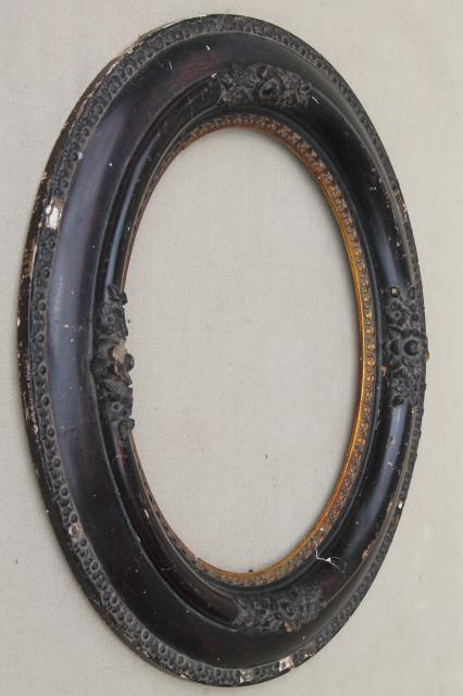 Antique Oval Wood Picture Frames Portrait Frame Pair W