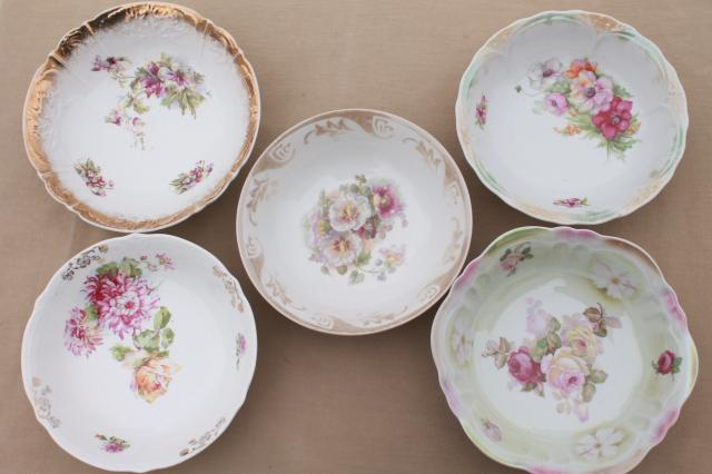antique painted china bowls collection of early 1900s vintage dishes w/ pretty florals & antique painted china bowls collection of early 1900s vintage ...