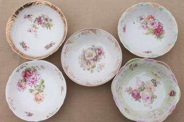 antique painted china bowls, collection of early 1900s vintage dishes w/ pretty florals