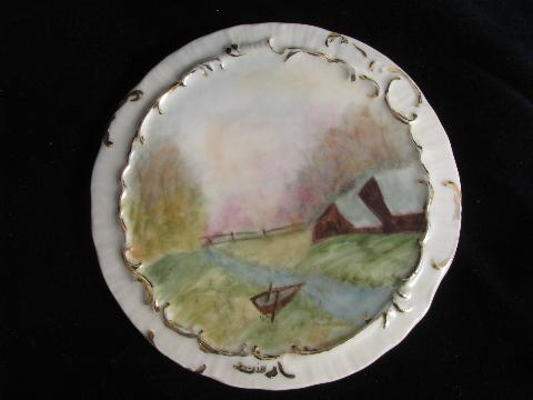 antique painted china tea table trivets, kettle rests w/ landscape scenes