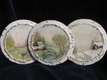 antique painted china tea table trivets, kettle rests w/ landscape scenes