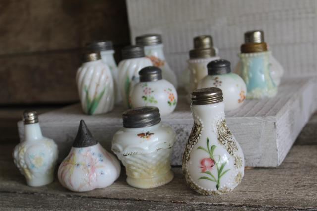 antique painted milk glass shakers, turn of the century vintage pressed pattern glass