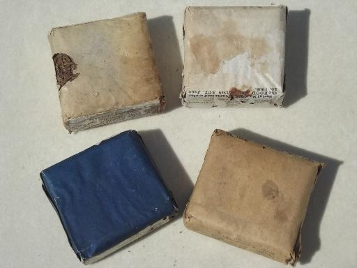 antique paper packets of medicinal herbs w/ old pharmacy medicine labels