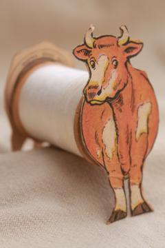 antique paper trade card Coats & Clark sewing thread advertising, toy cow to make w/ spool