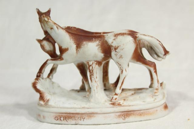 antique parian bisque china figurine marked Germany, horses mare and foal