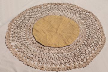 antique parlor table cover, lamp mat w/ handmade gimp braid lace trim edging