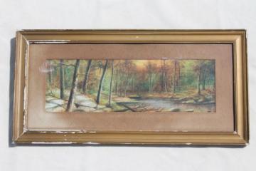 antique pastel landscape, miniature seascape painting in original old wood frame