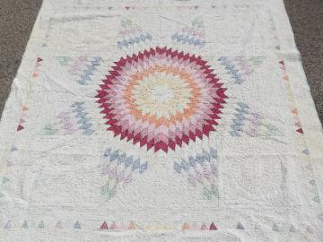 antique patchwork quilt w/ center star, depression vintage radiant starburst quilt