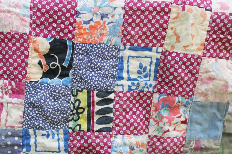 antique patchwork quilt doll bed size blanket, early 1900s vintage cotton fabric