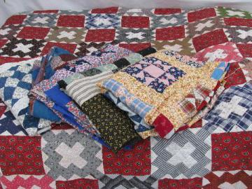 antique patchwork quilt tops lot, cotton prints, vintage country farm primitive tablecloths