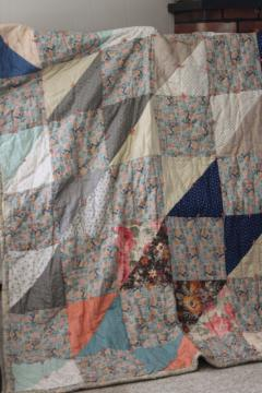 antique patchwork tied quilt, early 1900s vintage cotton fabrics comforter bedspread